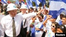Ван Цзин на церемонии закладки канала. Никарагуа, 22 декабря 2014.
