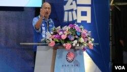 在野黨國民黨總統候選人韓國瑜在造勢場合上資料照。