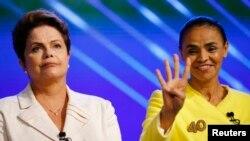 Đương kim Tổng thống Dilma Rousseff (trái) và ứng viên tổng thống Marina Silva.