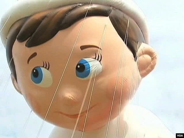 A Pinocchio balloon that will be featured in Macy's Thanksgiving parade this year.