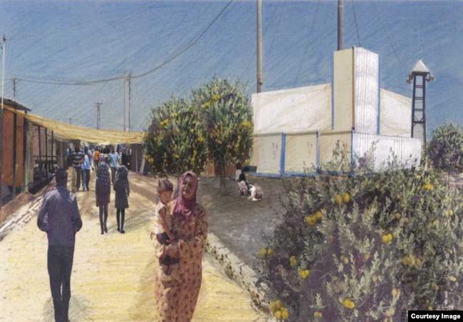 Sama El Saket re-imagines refugee camps to include neighborhoods with communal green spaces and housing around courtyards. (Sama El Saket)