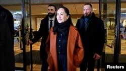 资料照:中国华为公司前首席财务官孟晚舟离开加拿大温哥华一家法院。(2020年1月17日)