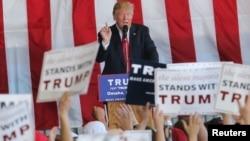 Le candidat républicain Donald Trump speaks à Omaha, Nebraska, 6 mai 2016.