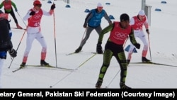 Syed Human hits the slopes in Pyeongchang, South Korea, to practice for the men's 15km free cross-country skiing event.