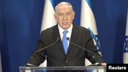 Perdana Menteri Israeli Benjamin Netanyahu memberikan pidato di Yerusalem, 13 Februari 2018.