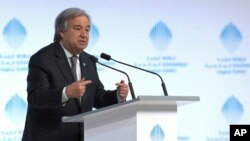 FILE - The United Nations Secretary-General Antonio Guterres speaks during the 2nd day of the World Government Summit in Dubai, United Arab Emirates, Monday, Feb. 13, 2017.