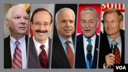 از راست سناتور بیل نلسون، چاک شومر، جان مک کین، الیوت انگل و بنجامین کاردین
