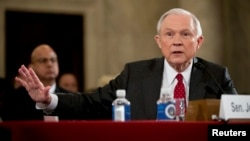 Attorney General-designate, Sen. Jeff Sessions, R-Ala. testifies on Capitol Hill in Washington, Jan. 10, 2017.