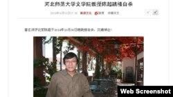 新浪网关于陈超自杀的报道 (网页截图)