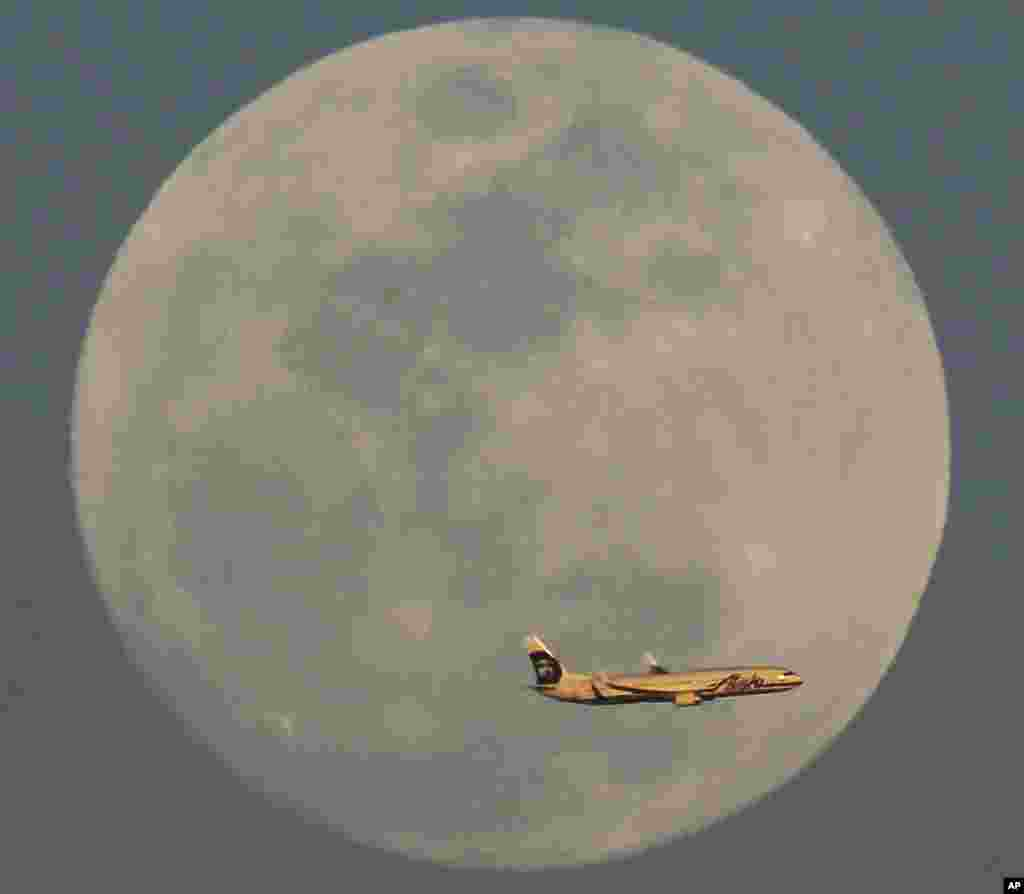 A Alaska Airlines flight passes by the rising moon in Phoenix, Arizona, USA, Feb. 21, 2016.