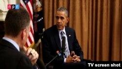 Američki predsednik Barak Obama tokom intervjua za NPR, 21. decembar 2015.