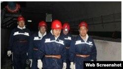 2014年1月19日魏鹏远视察山东一煤矿,这是他出事前最后一次公开露面(网络截图)