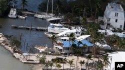 Suasana di Key Largo, Florida pasca dilanda oleh badai Irma hari Senin (11/9).