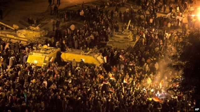 Anti-government protesters in Tahrir Square in downtown Cairo, Egypt Thursday, Feb. 10, 2011