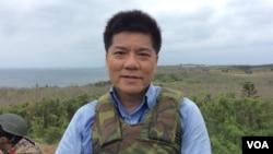 台灣軍事問題專家鄭繼文2017年5月25日在澎湖漢光演習現場 (美國之音記者申華 拍攝)