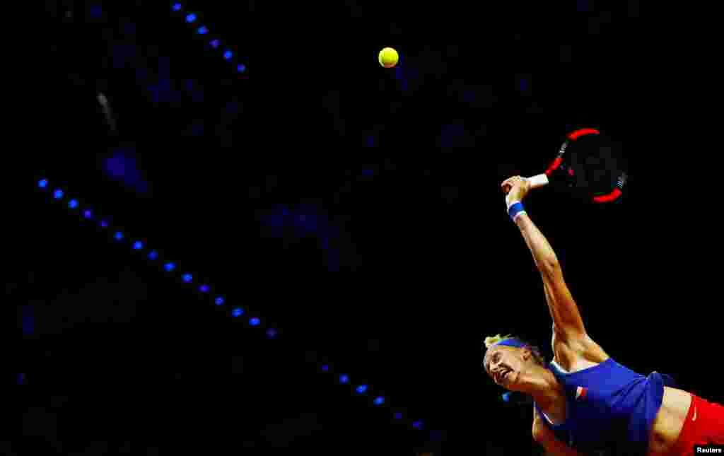 Czech Republic's Petra Kvitova of Czech Republic returns a ball to Germany's Angelique Kerber during the Fed Cup semi-final between Germany and Czech Republic at the Porsche Arena in Stuttgart, Germany.