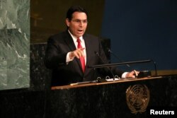 Israeli Ambassador to the United Nations Danny Danon addresses a United Nations General Assembly meeting at U.N. headquarters in New York, June 13, 2018.
