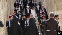 美国总统川普和第一夫人访问耶路撒冷的教堂(2017年5月22日)