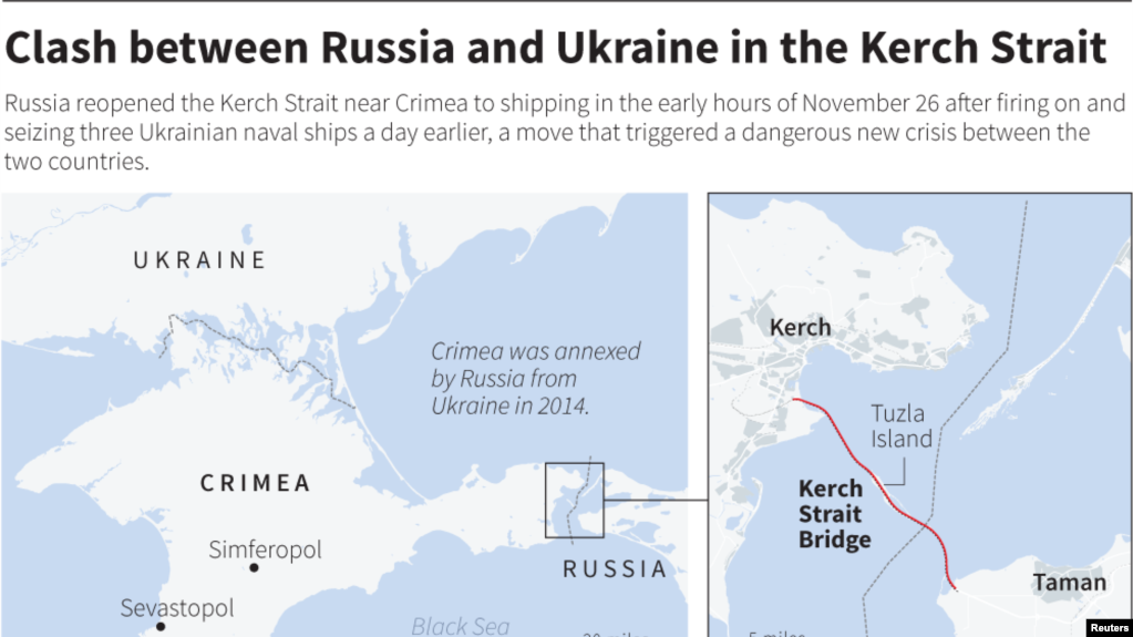 Bản đồ chỉ cầu băng qua eo biển Kerch nối Nga với Crimea.