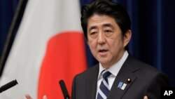 Japanese Prime Minister Shinzo Abe speaks during a news conference on Trans-Pacific Partnership or TPP at his official residence in Tokyo, March 15, 2013.