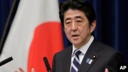 Thủ tướng Nhật Bản Shizo Abe nói về Hiệp định Thưong mại xuyên Thái bình dương tại một cuộc họp báo