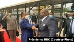 Denis Sassou N'Guesso ayambi mokokani wa ye mokonzi ya RDC na libongo ya Brazzaville, Congo, 15 juillet 2020. (Présidence ya RDC)