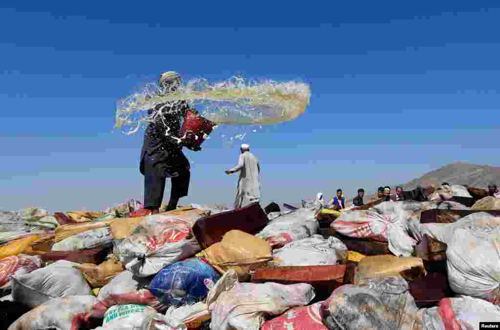 An Afghan man prepares to burn a pile of illegal narcotics on the outskirts of Jalalabad.