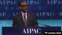 Perezida Paul Kagame w'u Rwanda ageza ijambo ku nama ya AIPAC i Washington DC