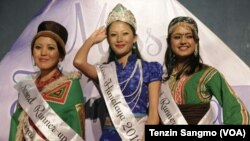 Newly crowned Miss Himalaya Rinchen Dolma in the middle with runner ups