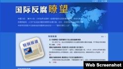 中纪委监察部网站 国际反腐瞭望专题页面截图