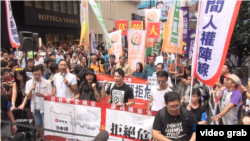 香港人參加十一大遊行。(視頻截圖)
