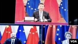 中歐領袖視像峰會。(互聯網截圖)