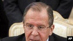 시리아 평화계획에 대한 입장을 밝히는 세르게이 라브로프 러시아 외무장관.