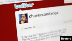 Imágen de computadora en que se muestra la nueva cuenta de Twitter del presidente Hugo Chávez, a través de la cual, gobierna el país, según la oposición venezolana.