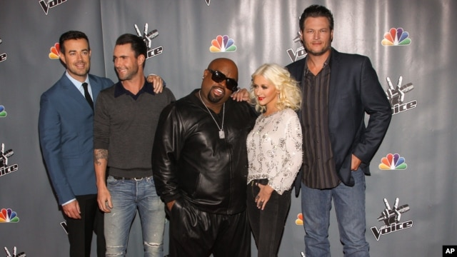 From left, Carson Daly, Adam Levine, CeeLo Green, Christina Aguilera and Blake Shelton attend