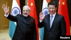 印度总理莫迪与中国国家主席习近平(资料照片)。