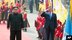 韩朝鲜领导人历史性会晤欢迎仪式(韩国官方提供)