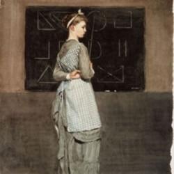 """Homer Winslow's watercolor on woven paper """"Blackboard"""""""