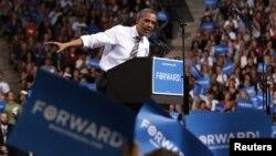 U.S. President Barack Obama speaks at a campaign event at the University of Colorado Boulder, November 1, 2012.