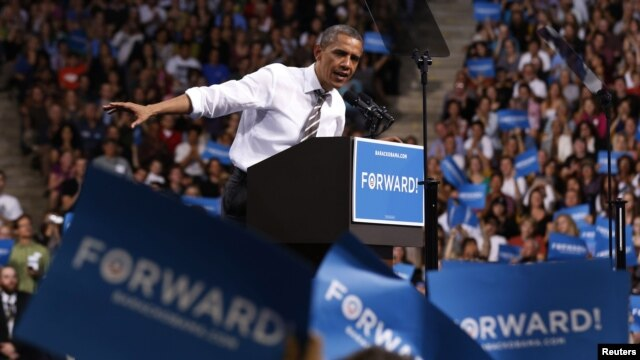 U.S. President Barack Obama speaks at a campaign event at the University of Colorado Boulder, November 1, 2012.
