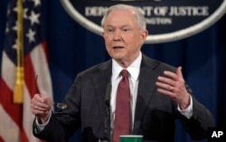 FILE - Attorney General Jeff Sessions speaks during a news conference at the Justice Department in Washington, March 2, 2017.