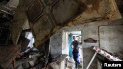 8일 러시아 남부 크림스크에서 홍수 피해를 입은 주택.