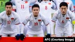 Cầu thủ Quang Hải (giữa) trong giải vô địch U23 châu Á tại Trung Quốc hồi tháng Một.