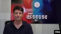 Marc Baudinet, author of the newly-published book Cambodia in the 21st Century, during his interview at VOA Khmer's Phnom Penh bureau on February 24, 2019. (Ky Mengly/VOA Khmer)