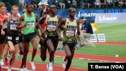 U.S. Army soldier-athletes Shadrack Kipchirchir and Paul Chelimo competing in the 5000-meters at the 2016 U.S. Olympic Track and Field Team Trials on July 9. Spc. Chelimo punched his ticket to the Rio Olympics in this race.