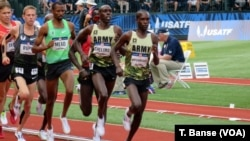 U.S. Army soldier-athletes Shadrack Kipchirchir and Paul Chelimo competing in the 5,000-meters at the 2016 U.S. Olympic Track and Field Team Trials on July 9. Spc. Chelimo punched his ticket to the Rio Olympics in this race.