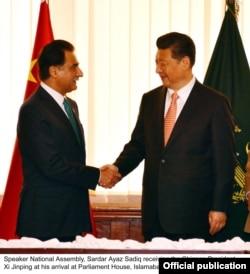 2015年4月21日伊斯兰堡国会大厦: 巴基斯坦国民议会议长萨达尔·萨迪克·阿亚兹会见中国习主席习近平
