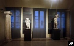 Some of the marble statues that were covered up with wooden panels on the occasion of Iranian President Hassan Rouhani's visit are seen at the Capitoline Museums, in Rome, Jan. 26, 2016.