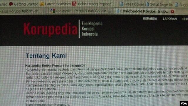 Korupedia, situs yang diluncurkan oleh aktivis anti korupsi di Indonesia.