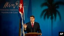Bộ trưởng Ngoại giao Cuba Bruno Rodriguez nói chuyện trong một buổi họp báo ở Havana, Cuba, 6/3//14